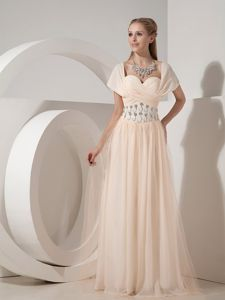 Champagne Chiffon Floor-length Prom Dress with Beading in Gladstone