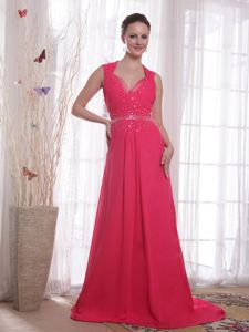 V-neck Chiffon Prom Party Dress in Coral Red with Beading in Oshkosh