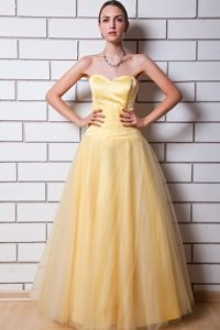 Gold A-line Sweetheart Floor-length Prom Dress with Ruches in Waukesha