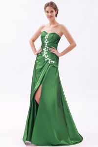 A-line Sweetheart Beaded Prom Dresses with Brush Train in Green in Appleton