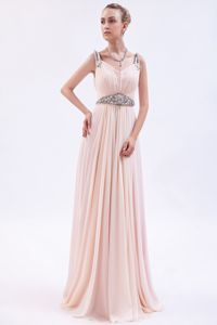 Pink Straps Chiffon Prom Dress with Beading and Brush Train in Racine