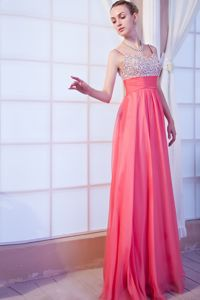Chiffon Beaded Prom Gown Dress in Hot Pink with Brush Train in Madison