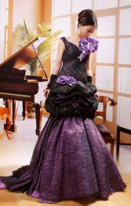 Mermaid Hand Flowery Prom Gowns in Black And Purple in Vancouver