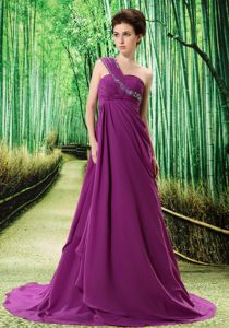 Purple One Shoulder Prom Dress with Appliques and Ruches in Poulsbo