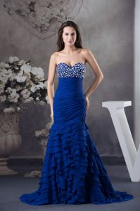 Mermaid Sweetheart Beaded Formal Prom Dress with Sweep Train in Notre Dame