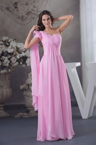 One Shoulder Pink Long Ruched Dress for Prom with Watteau Train in Glendale