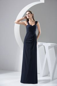 Remarkable Navy Blue Straps Chiffon Prom Attire Floor-length Innewry