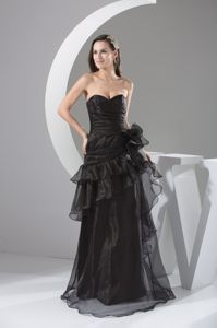Luxurious Black Organza Sweetheart Prom Gowns with Side Zipper