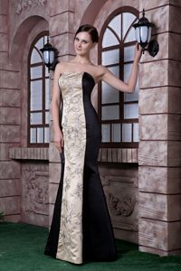 New Arrival Two-toned Strapless Dress for Prom with Embroidery