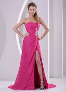 Brush Train Beaded Prom Outfits with Slit on the Side in Milford