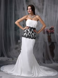 Noble Chapel Train White Ruched Prom Gown Dress with Lace Waist