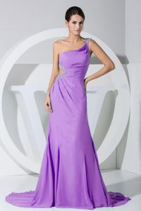 Brush Train Lavender Prom Dresses with Beading and Cutout Waist