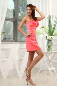 Best Watermelon Satin Strapless Prom Outfits with Zipper up Back