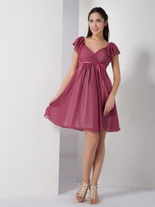 Burgundy V-neck Gore Sleeves Prom Gown Dress with Sash Cheap