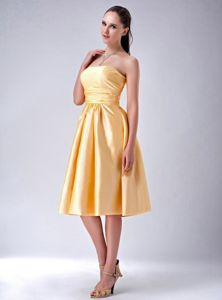 Custom Made Strapless Taffeta Yellow Senior Prom Dress in Winnersh