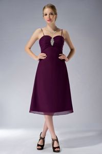 Tea-length Purple Spaghetti Straps Senior Prom Dress with Beading