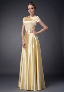 Recent Yellow Scoop Short Sleeves Floor-length Prom Gown 2014