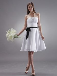 White Strapless Knee-length Formal Prom Dress with Black Sash in Fort Lewis