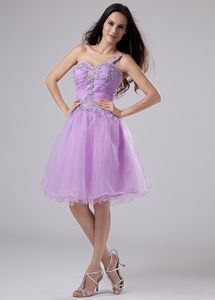 Purple One Shoulder Knee-length Prom Gowns with Beading in Germantown