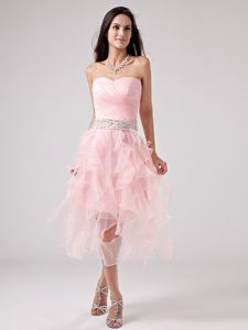 Ruffled and Rushed Sweetheart Prom Dresses in Baby Pink with Lace Up Back
