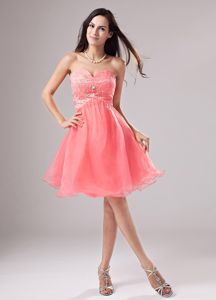 Organza Watermelon Sweetheart Short Dress for Prom with Beading in Grafton