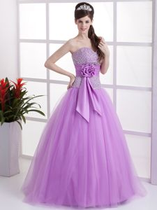 Sweetheart Princess Floor-length Prom Gown in Lavender with Sash and Lace
