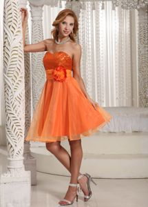 Organza Orange Sweetheart Mini-length Prom Dresses with Sash and Sequins