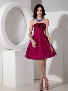 Wine Red A-line Strapless Prom Dresses with Hand Made Flowers in Colby