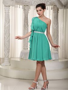 Chiffon Turquoise One Shoulder Prom Gowns in Mini-length with Ruching