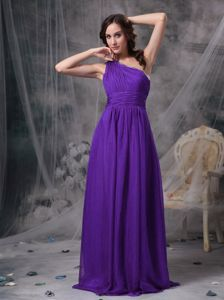 Popular Purple Ruched Empire Brush Train Prom Attire with One Shoulder