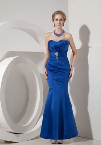 Royal Blue Sweetheart Mermaid Prom Dress in Ankle-length in Boyceville