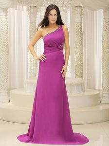 One Shoulder Empire Purple Prom Attire with Brush Train and Cutout Back