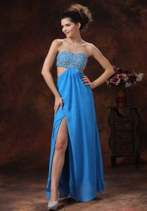 Teal Beaded Floor-length Dresses for Prom with High Slit and Cutout Waist