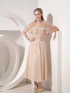 Ruched Strapless Tea-length Champagne Prom Gown Dresses with Appliques
