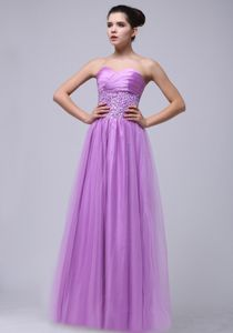 Beaded and Ruched Floor-length Lilac Prom Gown Dresses with Sweetheart
