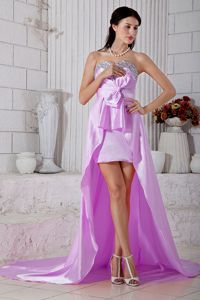 Lilac Beaded Sweetheart High-low Dress for Formal Prom with Bowknot