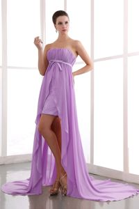 Lavender Strapless High-low Ruched Formal Prom Dresses in Washington