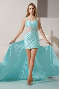 Sexy High-low Light Blue Beaded Senior Prom Dress with Straps in Louisiana