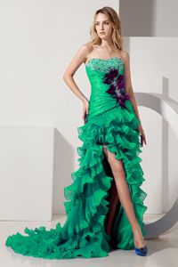 Green Sweetheart High Slit Beaded Semi-formal Prom Dresses with Ruffles