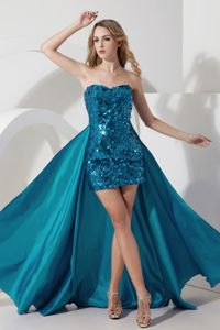Sexy Zipper-up Sweetheart Teal Sequin Mini-length Semi-formal Prom Dress