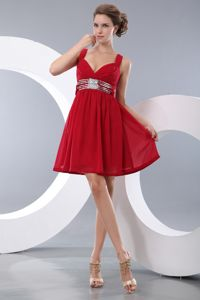Simple Red Mini-length Prom Dress with Straps and Beaded Sash in Indiana USA