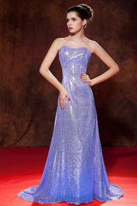 Luxurious Lilac Sequin Sweetheart Brush Train Dress for Prom in Rochester