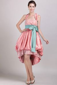 Halter High-low Watermelon Informal Prom Dress with Appliques and Bowknot