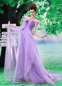 Elegant Lavender Off The Shoulder Court Train Formal Prom Dress with Flower