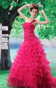 Hot Pink One Shoulder Beaded Court Train Prom Dresses with Ruffle-layers