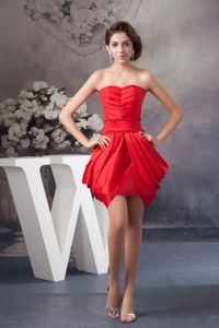 Strapless Red Mini-length Ruched Prom Outfits with Pick-ups in Jamestown