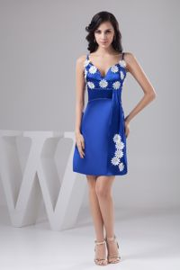 Gorgeous Spaghetti Straps Royal Blue Short Senior Prom Dresses with Appliques