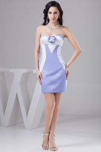Elegant Lilac and White Mini-length Prom Gown Dress with Flower and Pattern