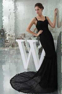 Modest Black Lace Mermaid Court Train Prom Dress with Spaghetti Straps
