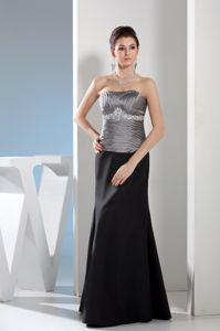 Black and Silver Strapless Full-length Prom Dress with Rhinestones in Maryland